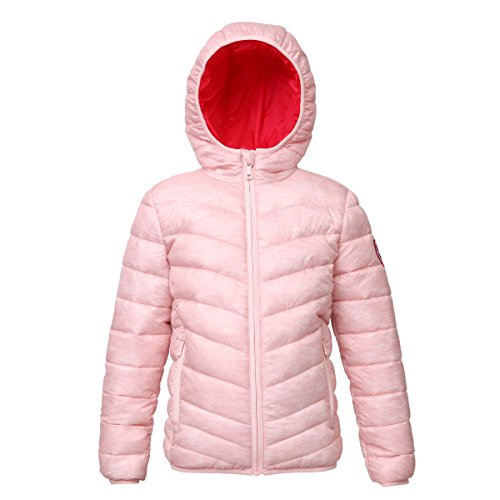 Rokka&Rolla Girls' Lightweight Reversible Water Resistant Hooded Quilted Poly Padded Puffer ()