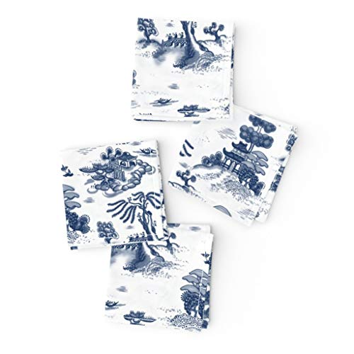 Roostery Cloth Cocktail Napkins, Blue Willow Toile Temple Trees Bird Garden Asian Print, Linen-Cotton Canvas Cocktail Napkins, 10in x 10in, Set of 4
