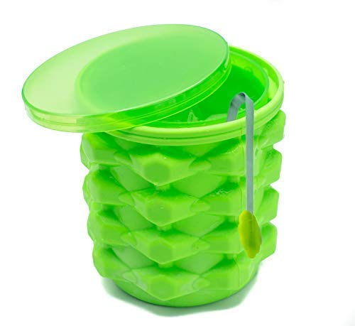 SIMPLE KITCHEN New and Improved Silicone Ice Bucket - ICE Cube Maker! Space Saving! 3 in 1 - Ice Bucket, Ice Mold with lid and Bottle Chiller - It's Like a Magic ice Cube Maker! ICE Tong Included