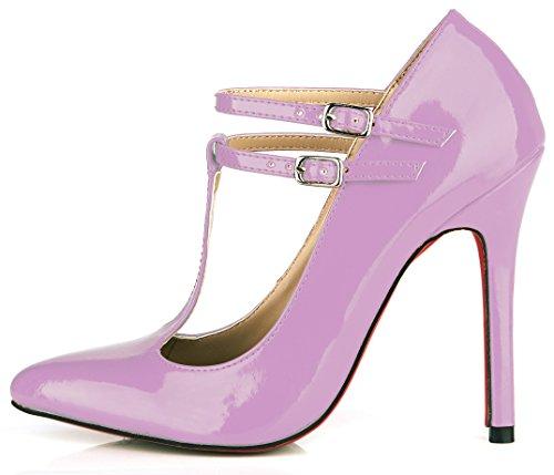 Discotecas Pearl La Purple Heel Mujer Shoes El Temperamento Muelle Barnizado Nuevo Light Alta Zapatos Negro Cuero Y Rojo De CPqU1p