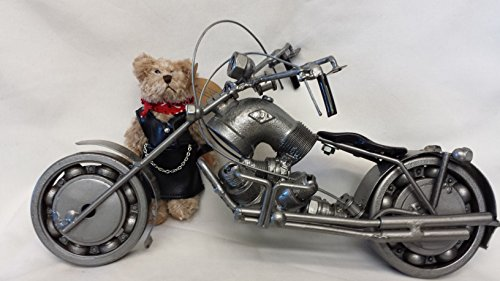 Recycled Metal Part Motorcycle Sculpture Collectible Model Bike with Miniature Biker Girl Teddy Bear - 2 Pcs/set