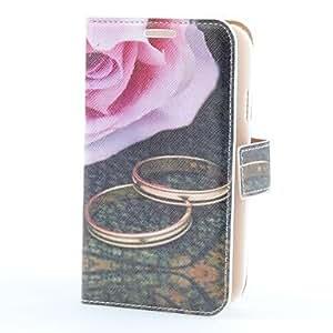 ZXM- Caso de cuero de la PU del estilo de Rose con ranura para tarjetas y soporte para Samsung Galaxy i9082 Gran Duos