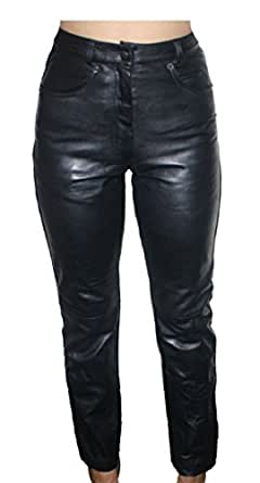 Womens Premium Genuine Lamb Leather 5 Pockets Jeans Style Black Pants_8
