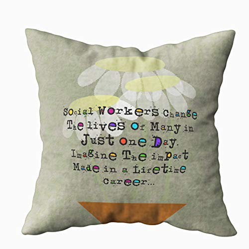 Capsceoll retired social worker pillow quote 13 Decorative Throw Pillow Case 18X18Inch,Home Decoration Pillowcase Zippered Pillow Covers Cushion Cover with Words for Book Lover Worm Sofa Couch