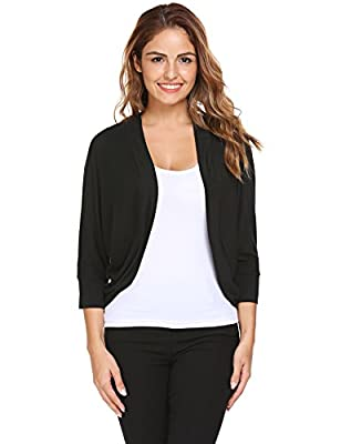 Zeagoo Women's Casual 3/4 Sleeve Knit Cropped Open Shrug Bolero Cardigan