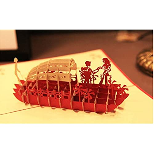MADE4U Kirigami Papercraft 3D Pop Up Card Valentine's Day & Wedding Collection (Ship) HK3015-RED-1 Sales