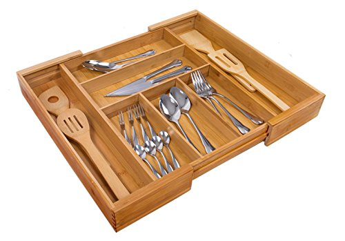 Expandable Bamboo Wooden Utensil Tray with 7 Compartments,Durable and Adjustable Cutlery Drawer Organizer,Nice Flatware Holder,Antimicrobial Drawer Divers (Wooden Cutlery Tray)