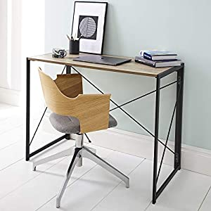 Multifunction Folding Desk Portable Compact No-Assembly Home Office Computer Table with Metal Frame (Oak & Black, 100 x…
