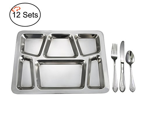 TigerChef TC-20508 Stainless Steel 12 6-Compartment Mess Trays with 18/8 Stainless Steel Peacock Silverware Spoons, Forks and Knifes Each, 12'' x 15'' Size by Tiger Chef