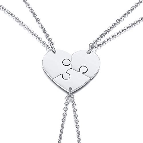 VNOX 3 Piece Heart Puzzle Piece Necklace Set Delicate BBF Friendship Necklace for 3,Birthday Bridesmaid -