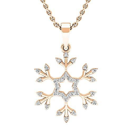 Dazzlingrock Collection 0.15 Carat (ctw) 10K Round White Diamond Snowflake Ladies Pendant (with Gold Chain), Rose Gold