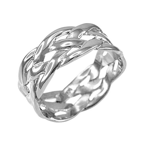 925 Silver Celtic Weave Ring - Celtic Weave Wedding Band in Polished 925 Sterling Silver (Size 4)