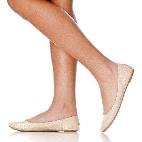 Riverberry Damen Aria Basic Geschlossene Runde Zehe Ballett Flache Slip On Shoe Beige Schlange