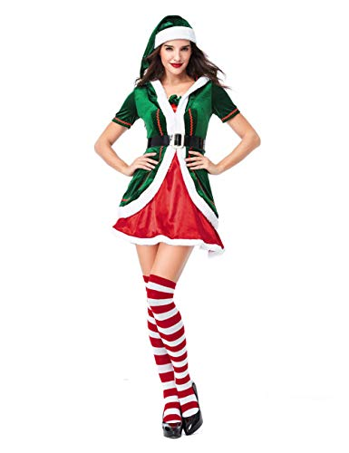 GRACIN Womens Santa's Helper Christmas Elf Costume with Hat, Adult Green Elf Dress for Cosplay Party(X-Large, Green) -