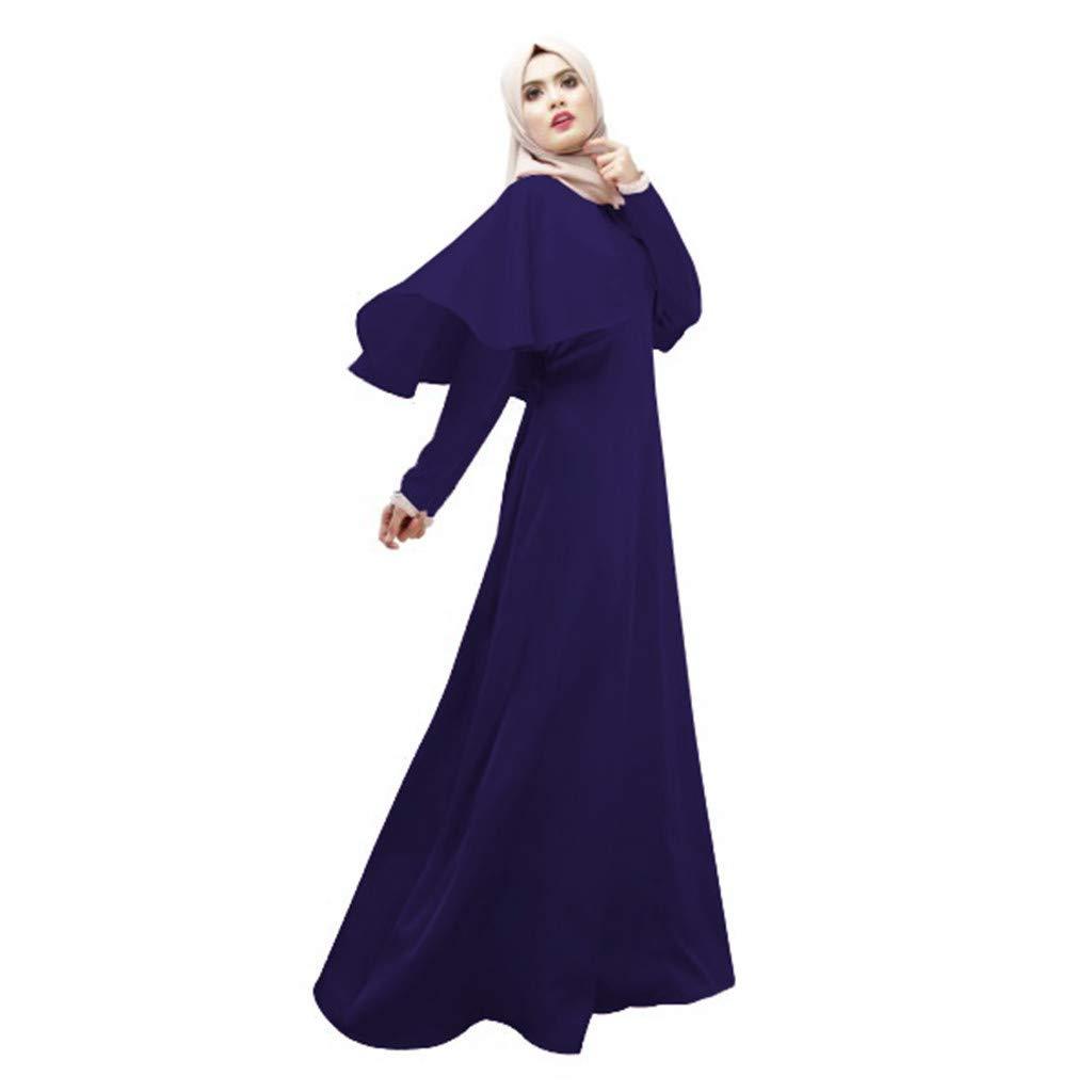 Mysky Fashion Muslim Women Classic Elegant Pure Color Ruffle Shawl Oversize Islamic Maxi Dress