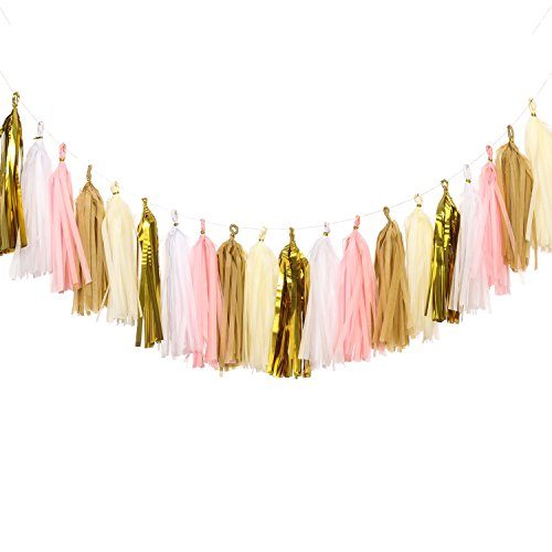 Ling's moment 20 PCS Tassel Garland Banner Tissue Paper Tassels for Wedding Baby Shower Event & Party Supplies DIY Kits - (Pink+Metallic Gold+Ivory+White+Tan) (Tissue Paper Banner)