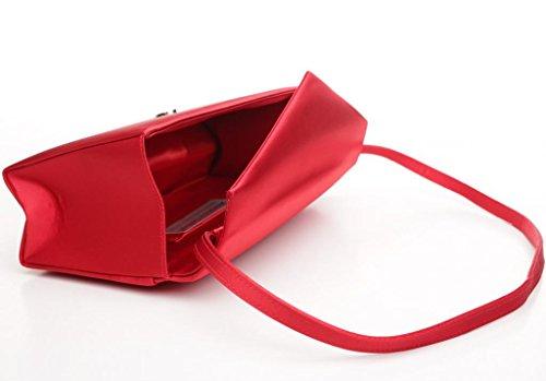 Josephine Osthoff Handtaschen-Manufaktur, Poschette giorno donna Rosso rosso ca. 24 cm breit, ca. 12,5 cm hoch, ca. 6 cm tief.