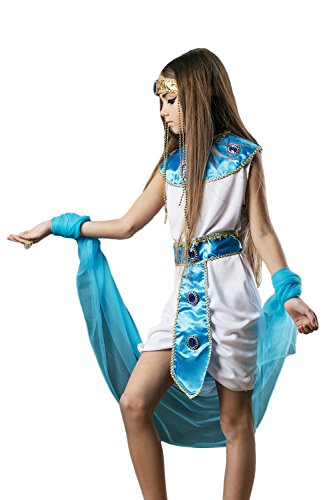 Egyption Costume Makeup (Kids Girls Egyptian Halloween Costume Cleopatra Nefertiti Dress Up & Role Play (3-6 years, white, blue))
