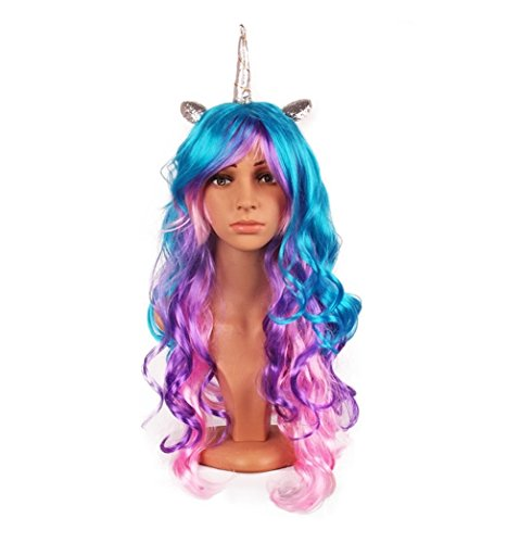 Price comparison product image MeMo Toys Luxury Unicorn Horn Headband Hairpiece Rainbow Wig Perfect for Party Decoration or Cosplay Costume (Silver Rainbow)