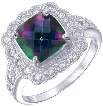 Details about  /925 SOLID STERLING SILVER MYSTIC TOPAZ RING u641