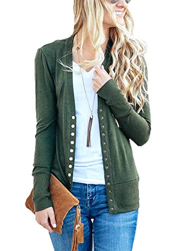 JNTOP Women's Women's V-Neck Long Sleeve Soft Basic Knit Snap Cardigan Army Green Large ()