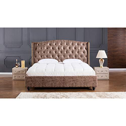 American Eagle Furniture B-D062-BR-EK.V2 Drake Mid Century Modern Upholstered Bed with Tufted Headboard, Eastern King Size, Brown