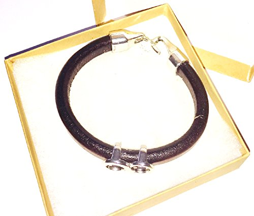 Divine Spark 10mm Thick Black Leather Bracelet with Silver Tone Infinity Center and Rustic Flame Charm - Black Licorice Leather Bracelet