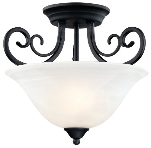 (Hardware House 544874 Tuscany 14-1/2-Inch by 12-1/2-Inch Ceiling Lighting Fixture Textured Black )