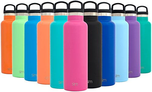 Simple Modern 20oz Ascent Water Bottle - Vacuum Insulated Double-Walled Standard Narrow Mouth 18/8 Stainless Steel Swell Flask with Handle Lid - Powder Coated Hydro Travel Mug - Cotton Candy Pink