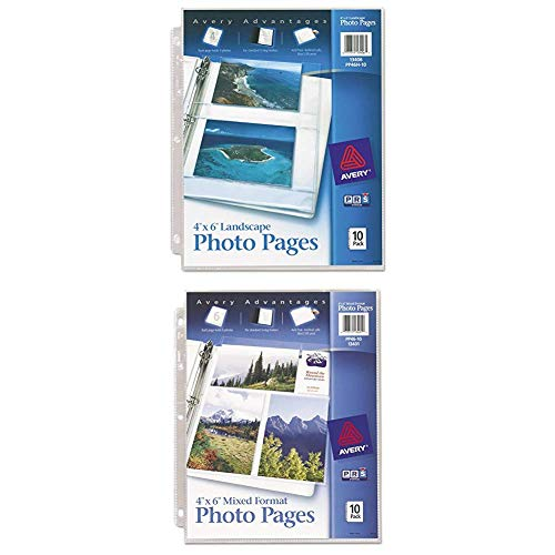 Avery Horizontal Photo Pages, Acid Free, 4 x 6 Inches, Pack of 10 (13406) with Avery Mixed Format Photo Pages, Acid Free, Pack of 10 (13401)