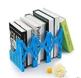 Laylala Adjustable Desktop Bookends Retractable Bookend Frame Adjustable Magazine/File Holders Desktop Organizer, 3 Slot Bookshelf, Library School Office Supply (Blue)