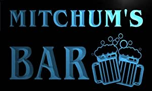 w008340-b MITCHUM Name Home Bar Pub Beer Mugs Cheers Neon Light Sign