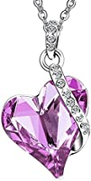 Menton Ezil Love Heart Swarovski Crystals Pendent Silver Plated Adjustable Necklace