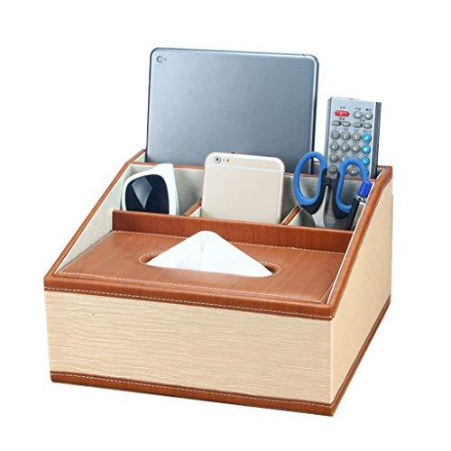 CLQya Caja de almacenamiento de escritorio de control remoto de la mesa de centro de cuero de la PU europea, bandeja de caja de panuelos de papel creativa creativa multifuncion, 25X24X24 cm, grano de