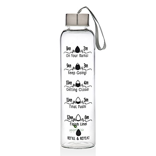 Godinger 20oz Motivational Bottle Fitness Workout Sports Water Bottle with Unique Timeline Measurements Goal Marked Times For Measuring Your Daily Water Intake, BPA Free IMPROVED WRISTBAND AND COVER