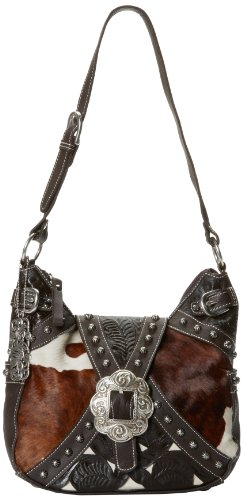 American West Prairie Rose Zip Top Everyday Shoulder Bag,Chocolate/White,One Size