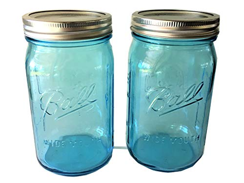32 oz. Aqua Blue Glass Ball Collection Heritage Color Series-Set of 2