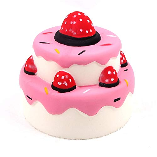 (Pausseo Simulation Double Layer Strawberry Cake Bread Squeeze Toys Super Slow Rising Fruits Scented Stress Relief Children Kids Soft Simulation Squeezable Dolls Decor Gift Decompression Plaything)