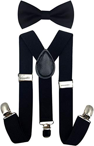 CD Kids, Toddlers Suspender and Bow Tie Set, Adjustable Set and Colors for Boys and Girls (Black)
