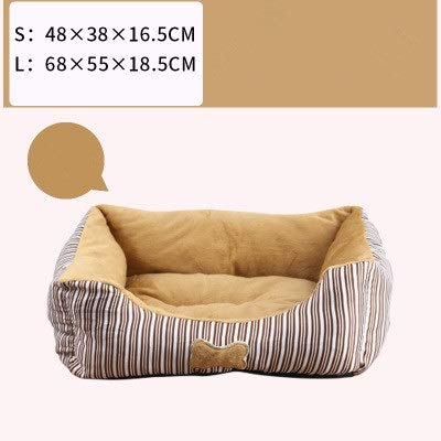 Brown L Brown L Square pet Bed, Striped Bones Small Foldable Soft Comfort Four Seasons Universal Cat Litter Kennel (color   Brown, Size   L)