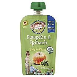 Earth's Best Organic Stage 2, Pumpkin & Spinach, 3.5 Ounce Pouch (Pack of 12) (Packaging May Vary)