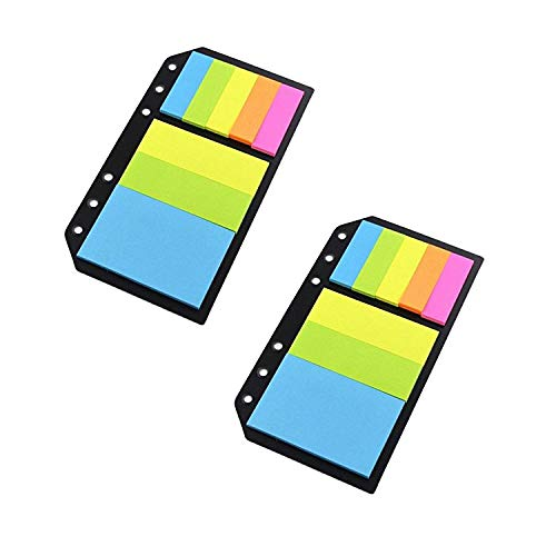 Chris-Wang 2Pack Universal Colored Flags for A5/A6/B5 Notebook, Stick-on Flags, Insert Refill Filler Page, Black Paper Divider ()