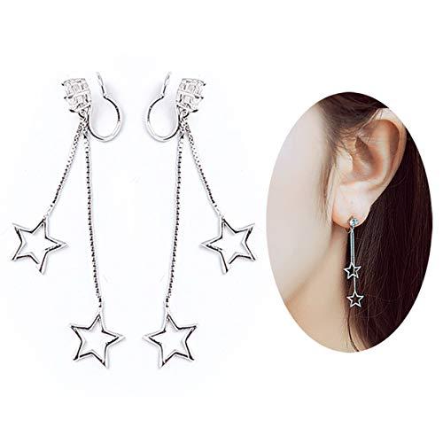 Silver No Piercing Ear Cuffs CZ Stone Long Star Ear Drop Tassel Dangle Earrings ()