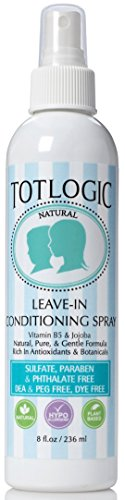 TotLogic Detangling & Leave In Conditioner Spray - 8 oz. - Natural Chamomile and Lavender Scent, No Sulfates, Hypoallergenic, Rich in Antioxidants and Botanicals, No Parabens, No Phthalates