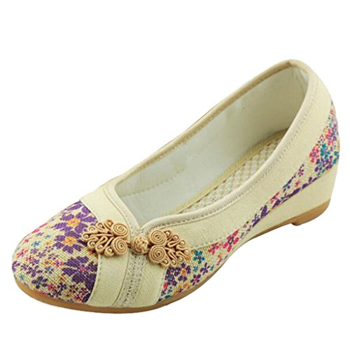 Binying Women's Beijing Style Embroidery Button Pumps Beige