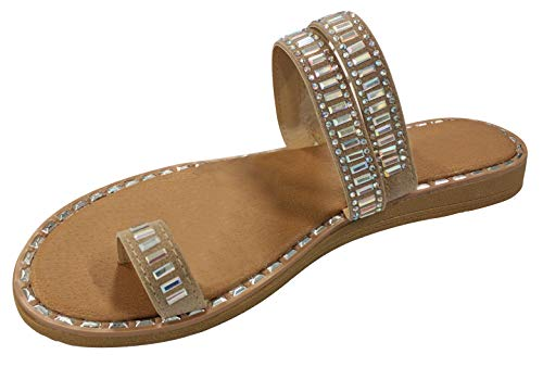 Top Stylish Sexy Night Time Long Dress Gladiator Slipper Sandal Shoe for Women Teen Girls (Taupe Size 8.5)