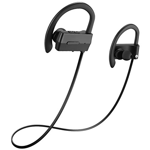 Airsspu Bluetooth Headphones,Best Wireless Stereo Noise Isolating Sports Earphones,Premium Waterproof Sweatproof Bass Sound Headset for Gym,Running and Workout(Black)