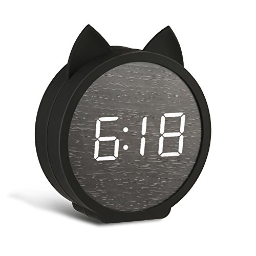 BOERA Alarm Clock for Kids Bedroom,Digital LED Wooden Alarm Clock Large Display Time Temperature USB/Battery Powered (Cat)