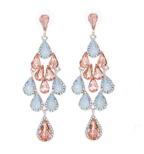 - Crystal Drop Dangle Earrings Multi color Rhinestone Chandelier Earrings Long Teardrop Earrings for Wedding bride