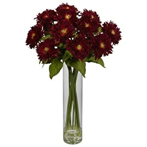 Nearly Natural Sunflower with Cylinder Silk Flower Arrangement Red 25